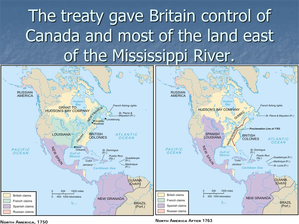 The treaty gave Britain control of Canada and most of the land east of the Mississippi River.