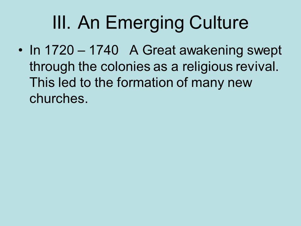 III. An Emerging Culture