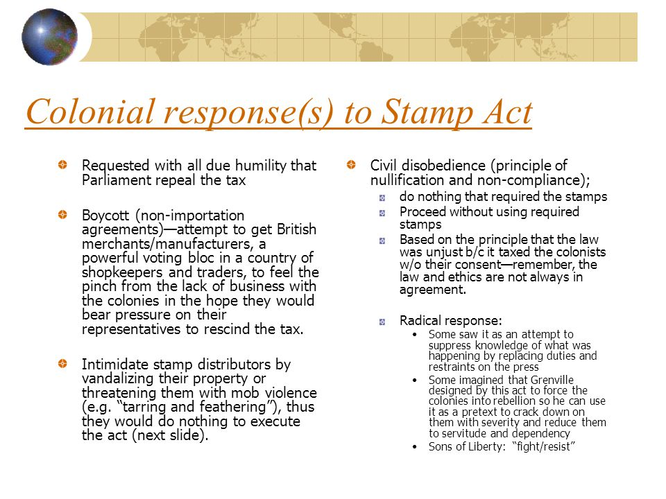 Colonial response(s) to Stamp Act