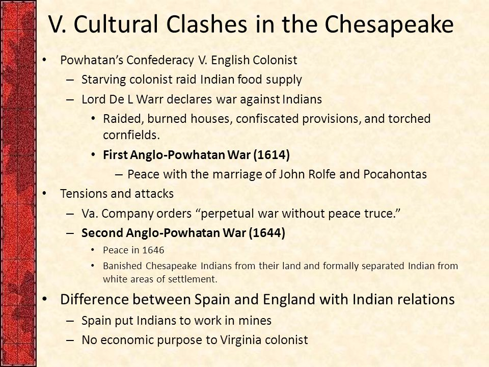 V. Cultural Clashes in the Chesapeake