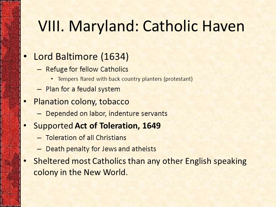 VIII. Maryland: Catholic Haven