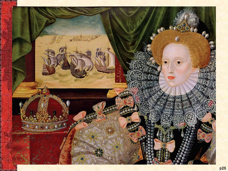 Elizabeth I (1533–1603), by George Gower, ca. 1588 In. this Armada Portrait of Queen. Elizabeth I, the artist proclaims.