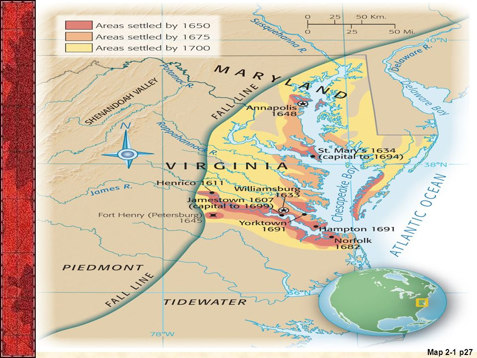 Map 2.1 Early Maryland and Virginia