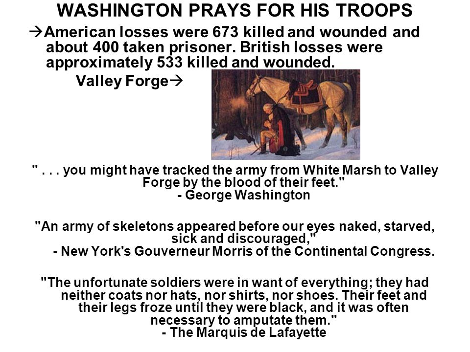 WASHINGTON PRAYS FOR HIS TROOPS