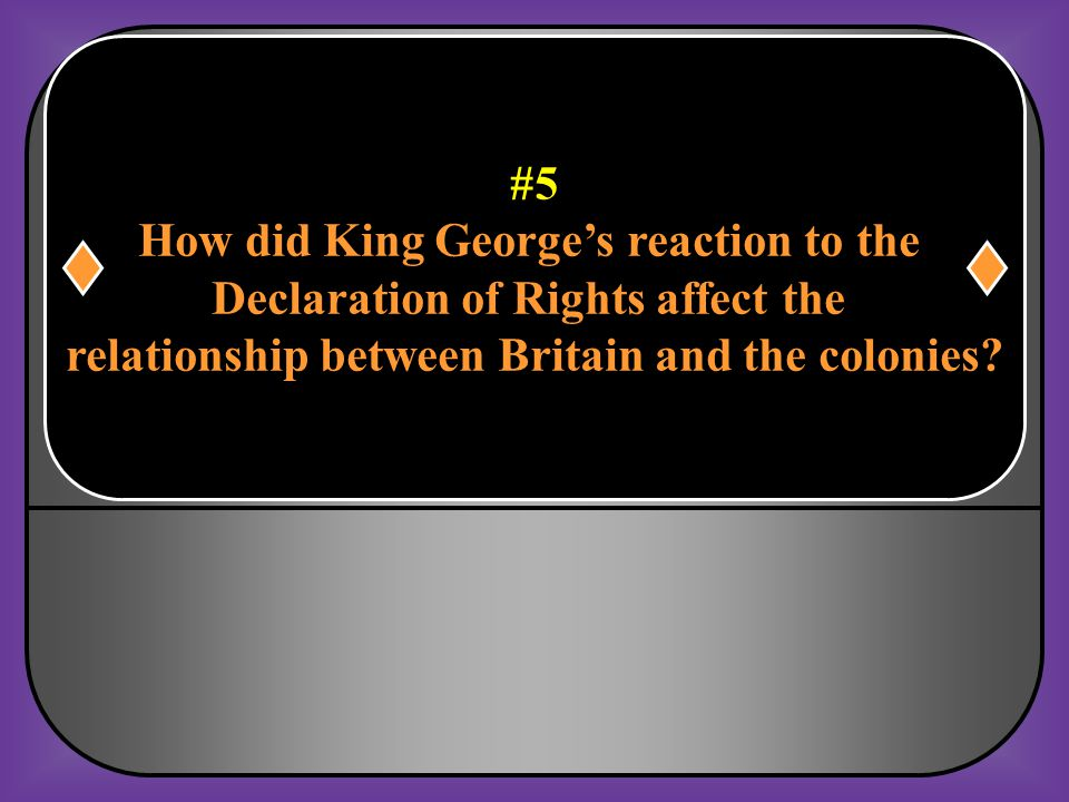How did King George's reaction to the Declaration of Rights affect the