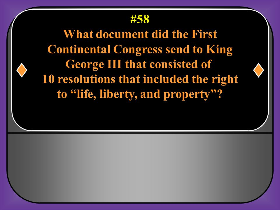 What document did the First Continental Congress send to King