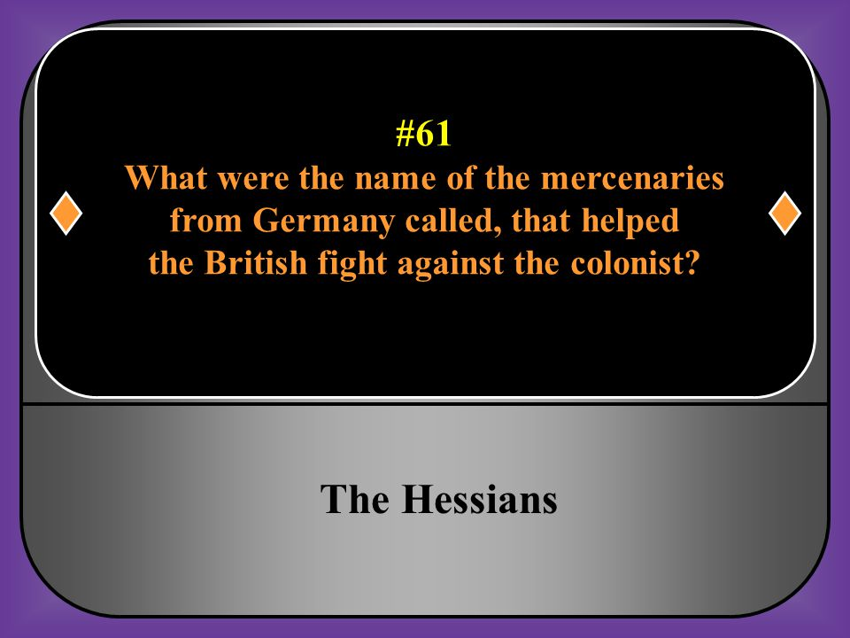 The Hessians #61 What were the name of the mercenaries