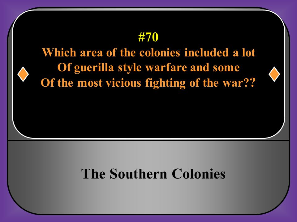 The Southern Colonies #70 Which area of the colonies included a lot