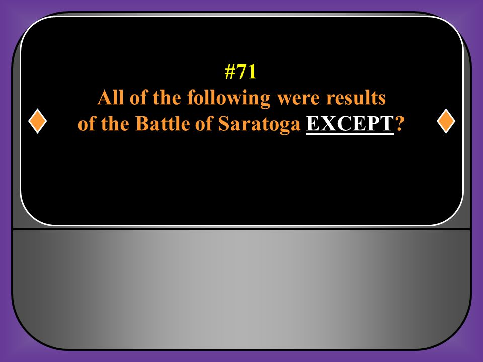 All of the following were results of the Battle of Saratoga EXCEPT