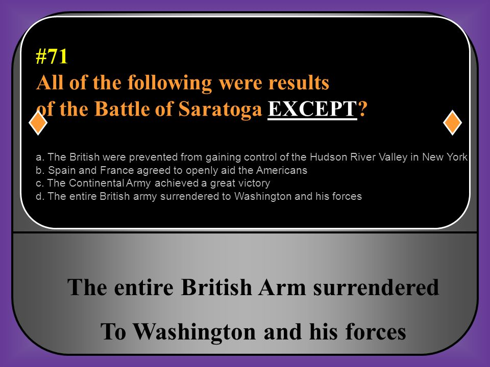 The entire British Arm surrendered To Washington and his forces