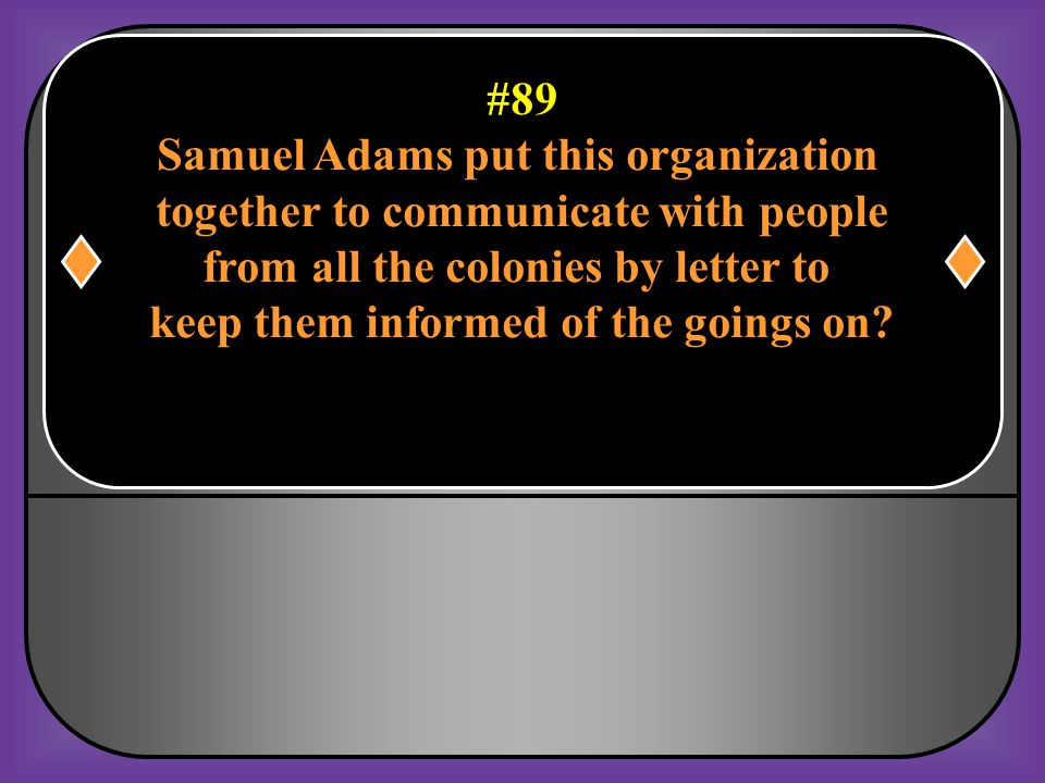 Samuel Adams put this organization together to communicate with people