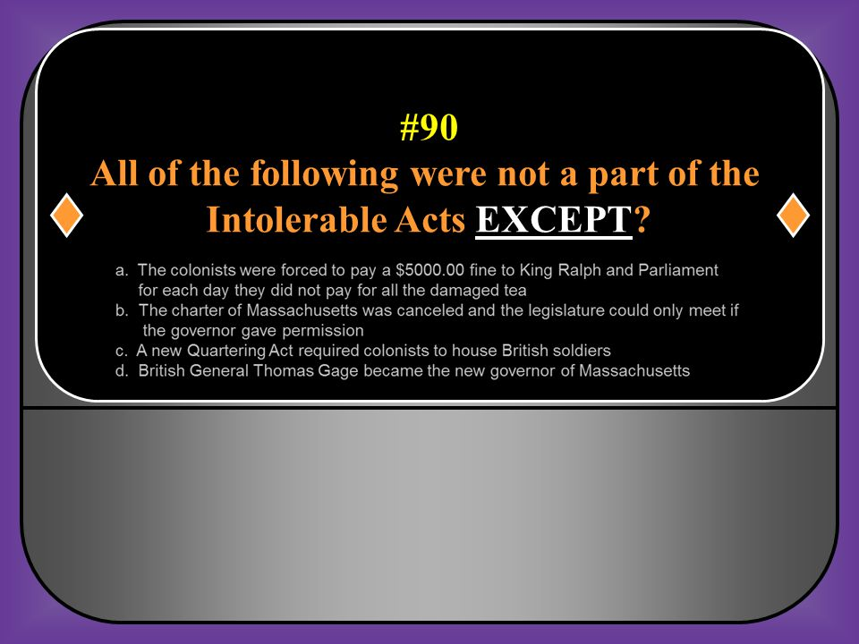 All of the following were not a part of the Intolerable Acts EXCEPT