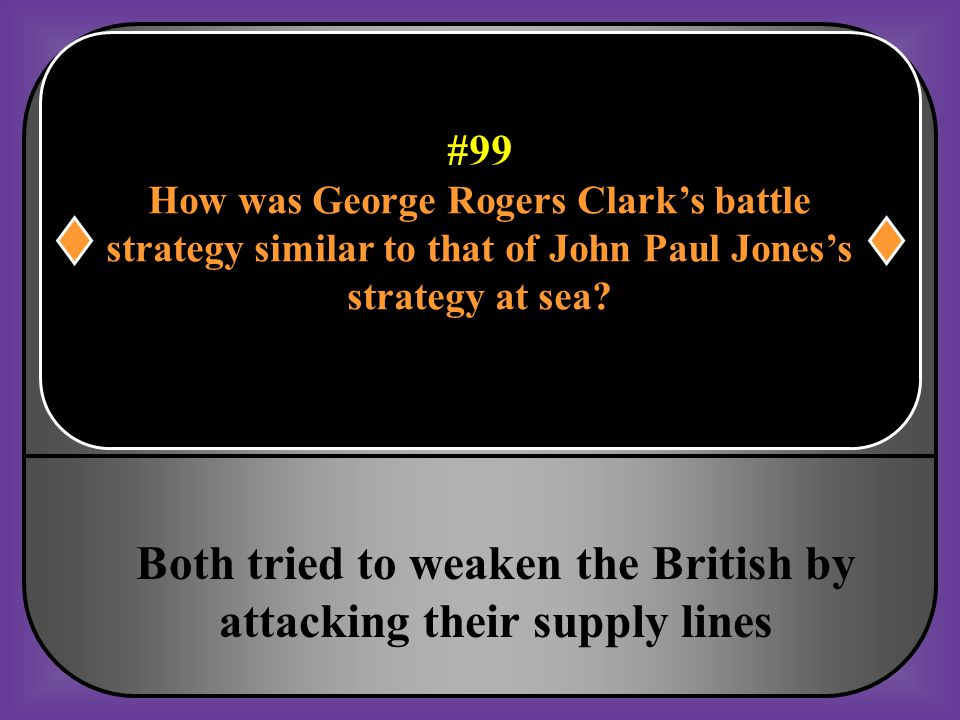 Both tried to weaken the British by attacking their supply lines