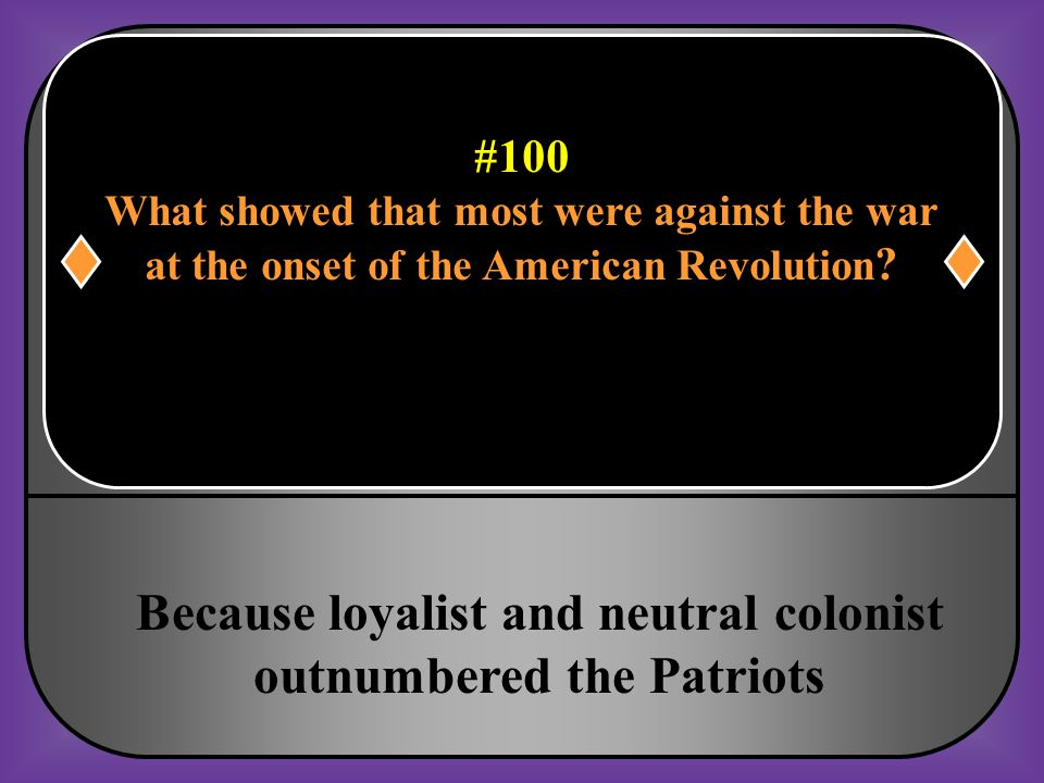 Because loyalist and neutral colonist outnumbered the Patriots