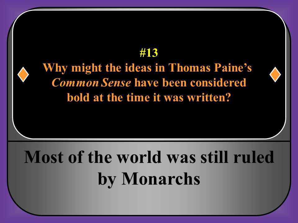 Most of the world was still ruled by Monarchs