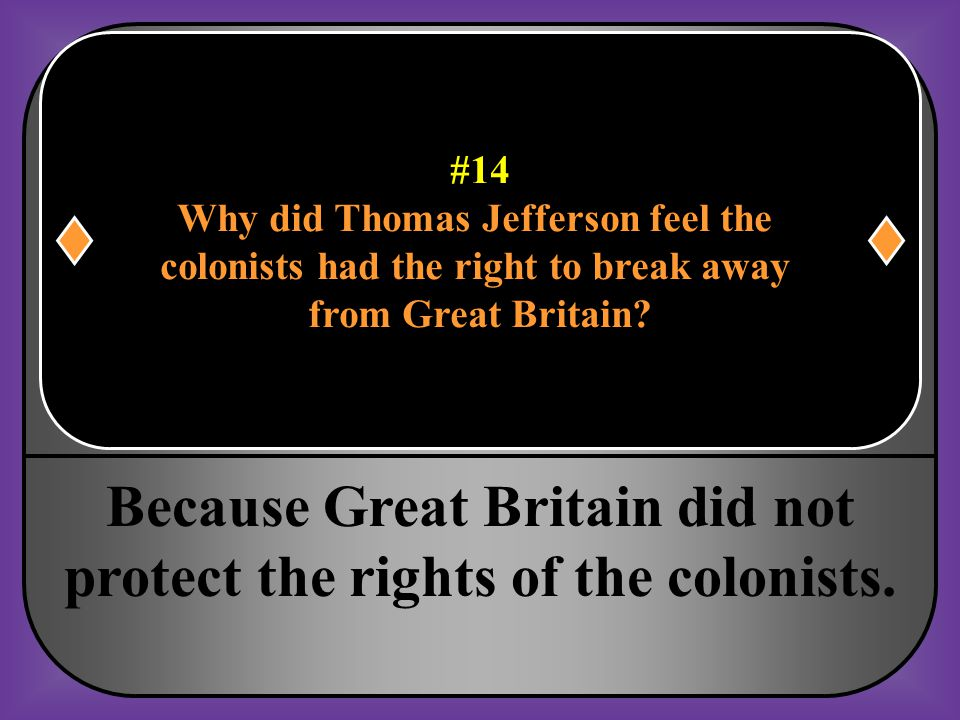 Because Great Britain did not protect the rights of the colonists.