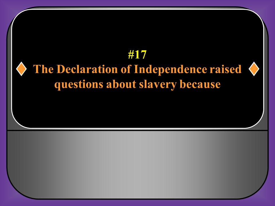 The Declaration of Independence raised questions about slavery because