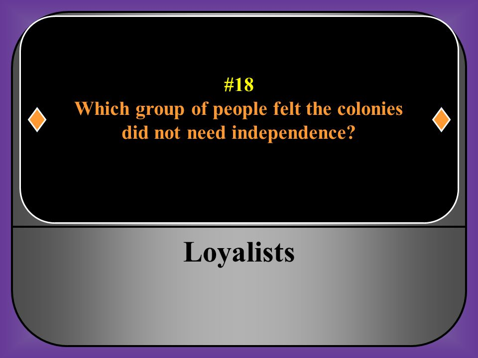 Which group of people felt the colonies