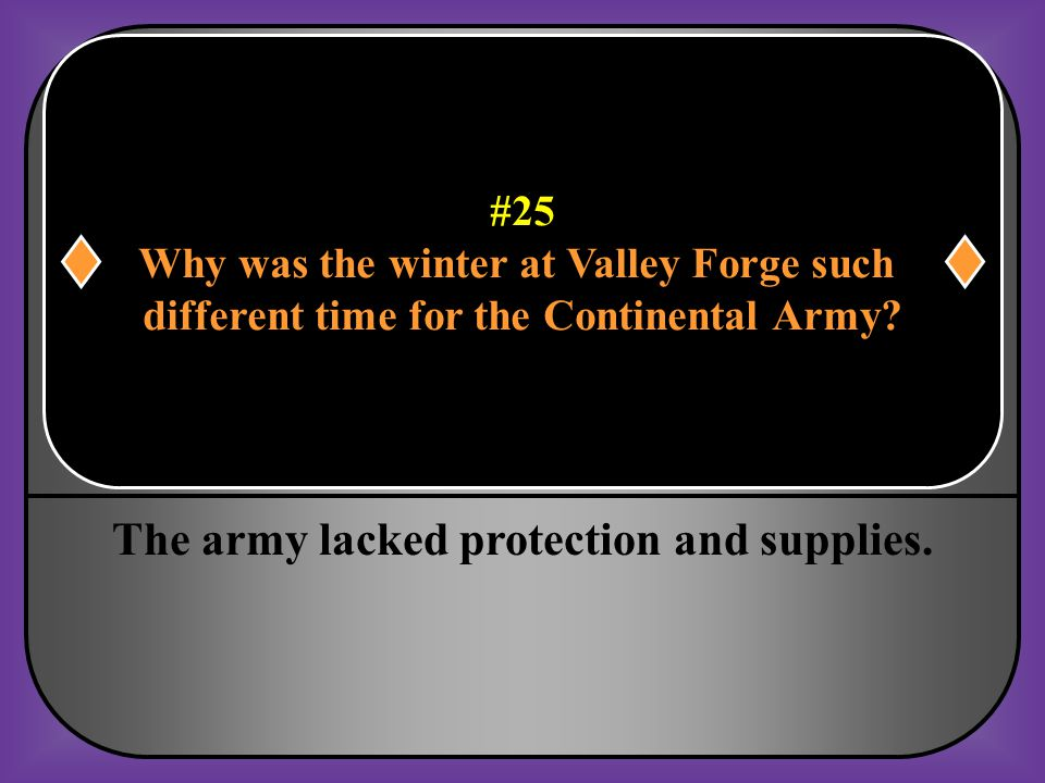 The army lacked protection and supplies.