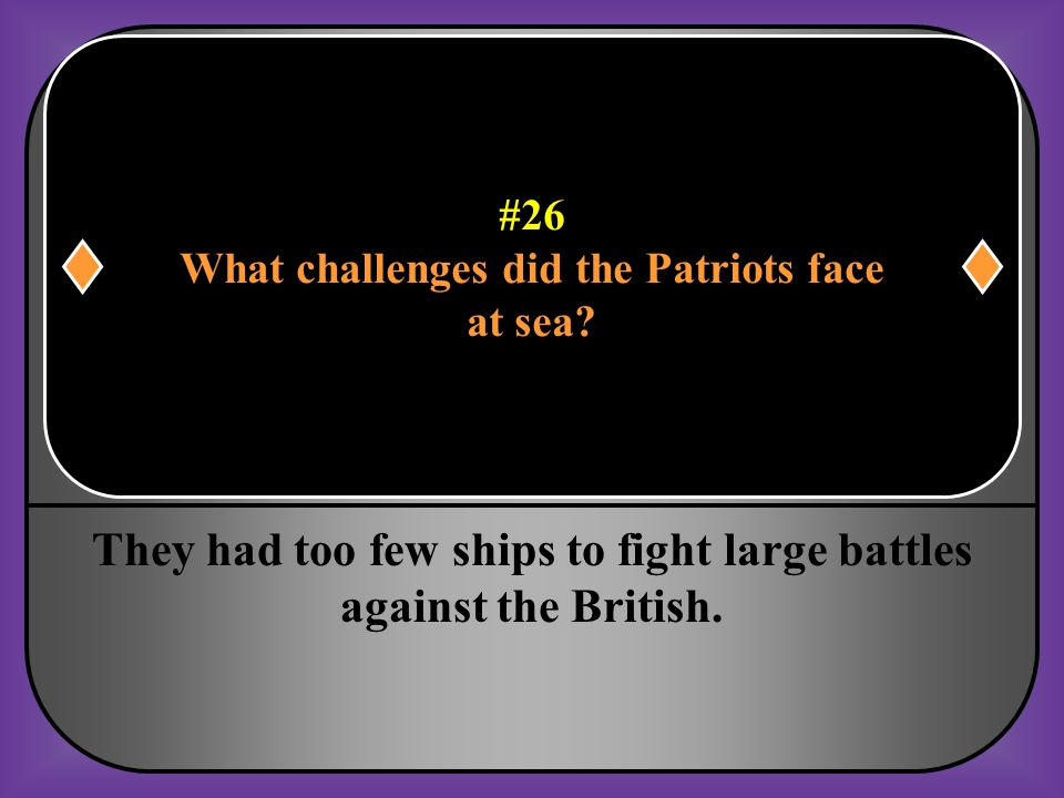 What challenges did the Patriots face