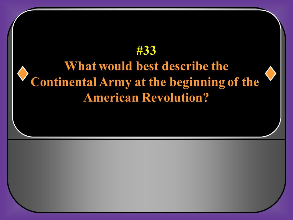 What would best describe the Continental Army at the beginning of the