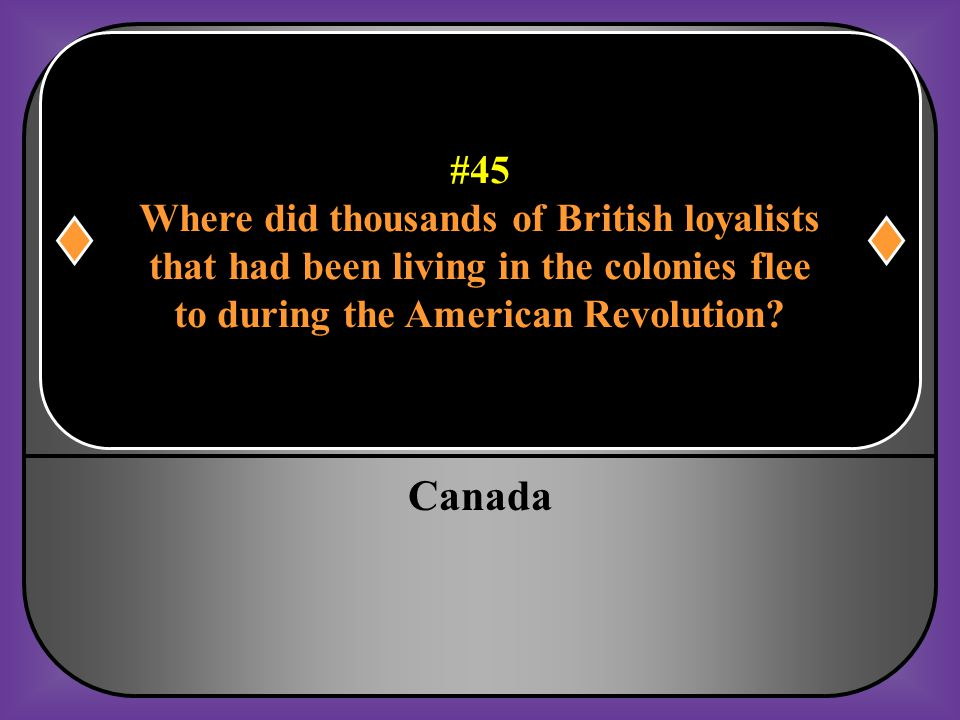 Canada #45 Where did thousands of British loyalists