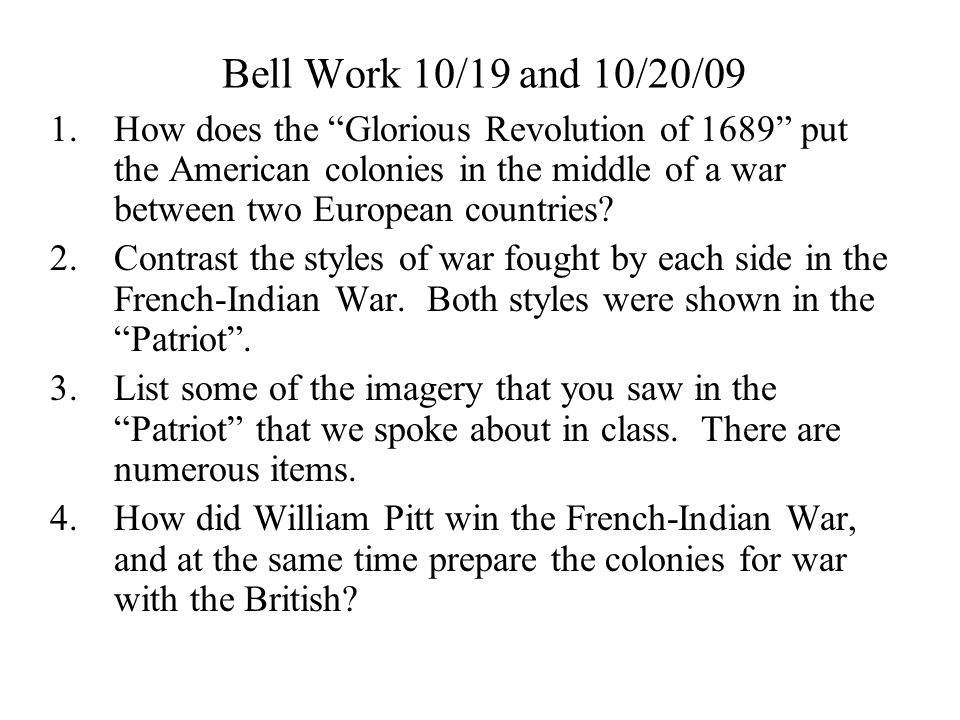 Bell Work 10/19 and 10/20/09
