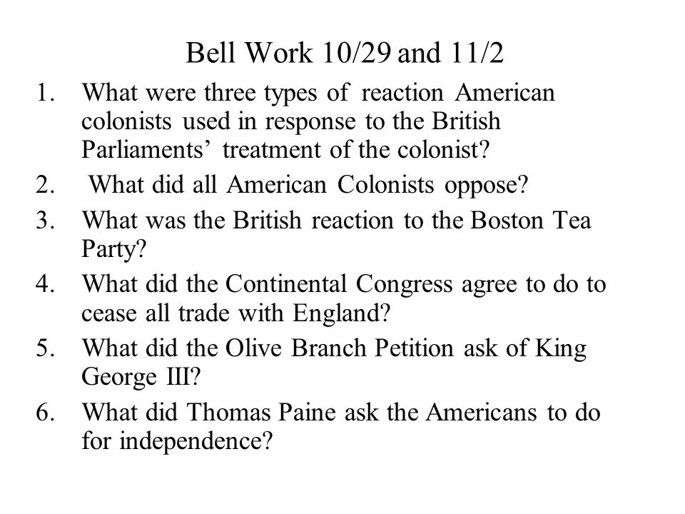 Bell Work 10/29 and 11/2