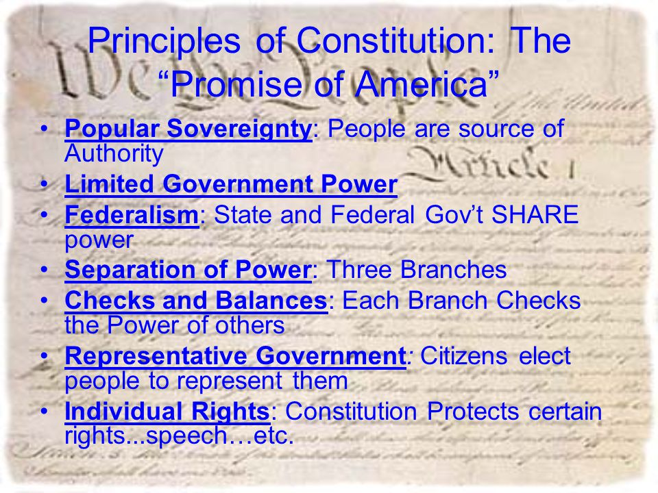 Principles of Constitution: The Promise of America