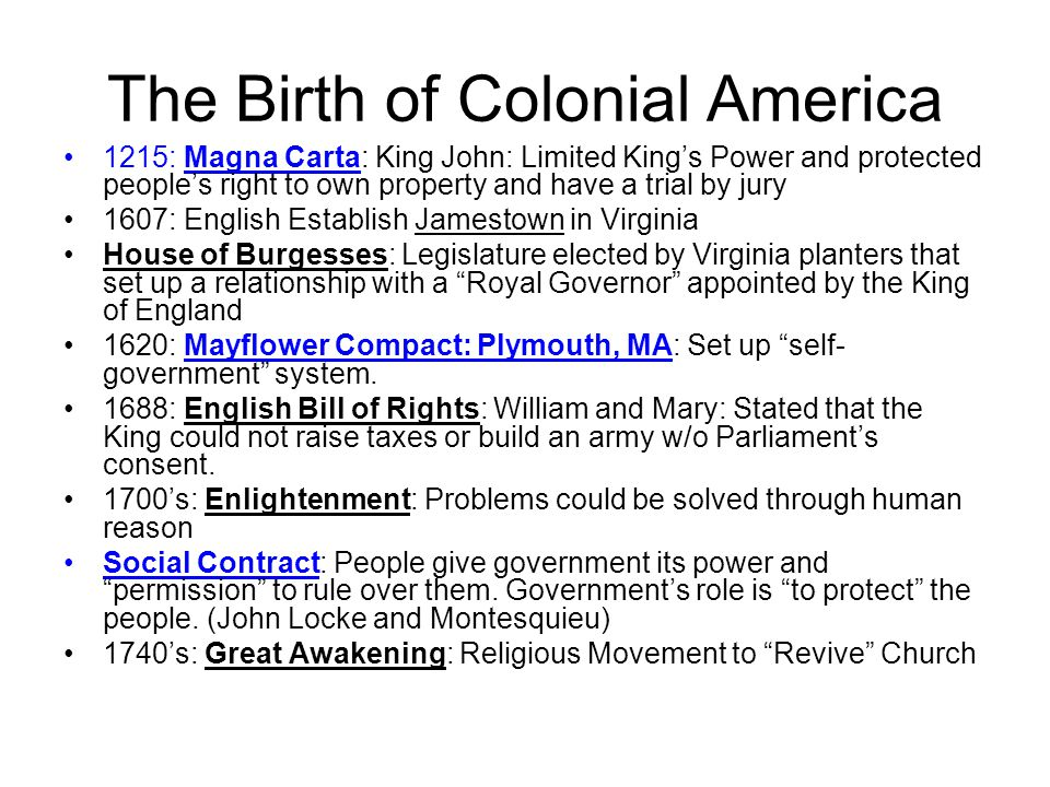 The Birth of Colonial America