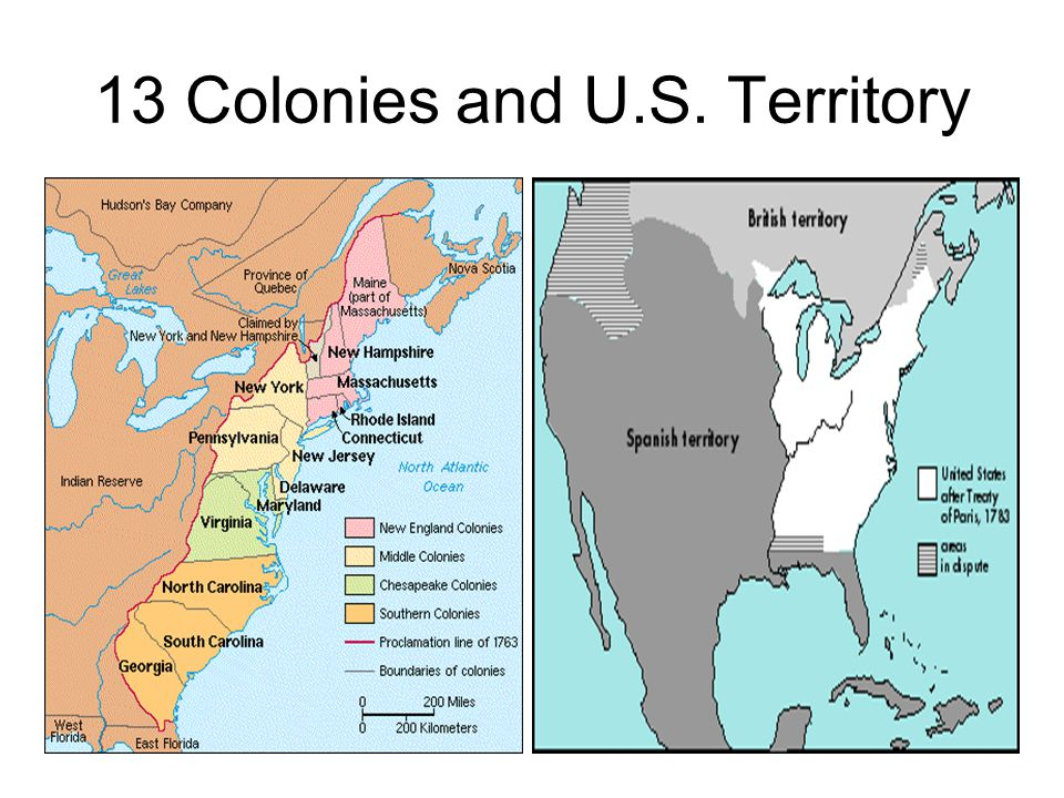 13 Colonies and U.S. Territory