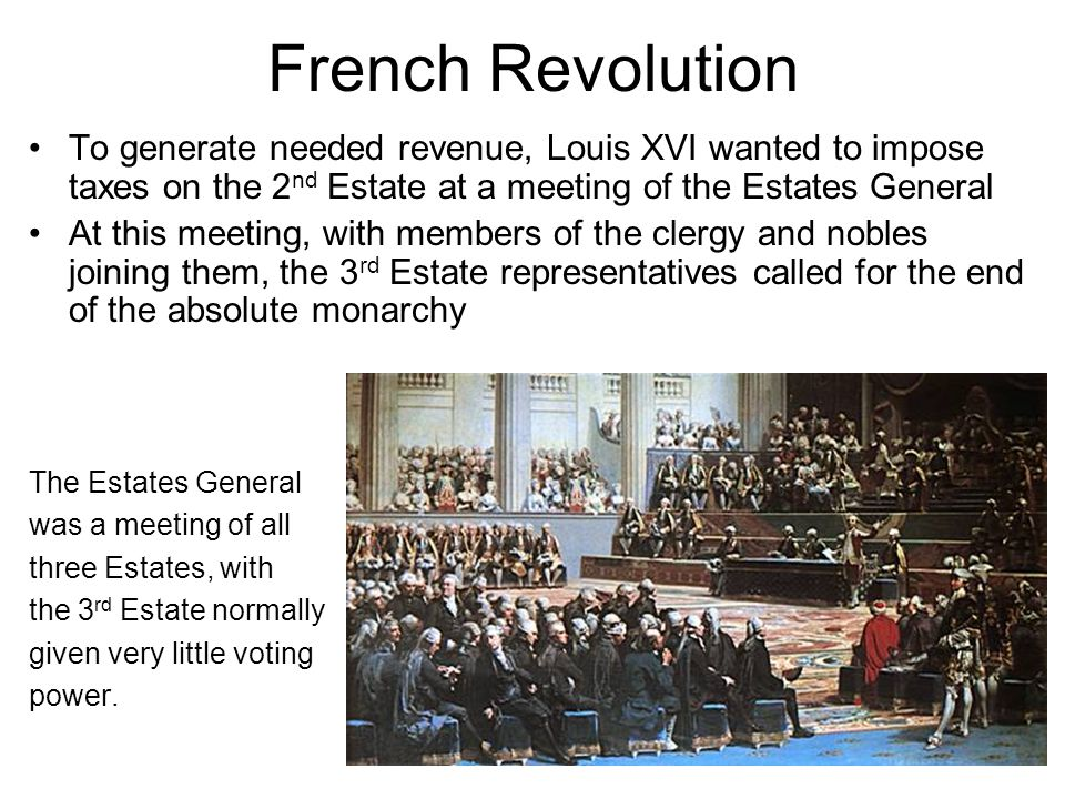 French Revolution To generate needed revenue, Louis XVI wanted to impose taxes on the 2nd Estate at a meeting of the Estates General.
