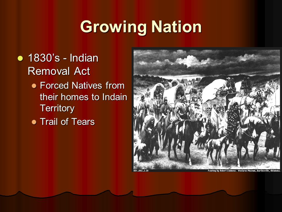 Growing Nation 1830's - Indian Removal Act