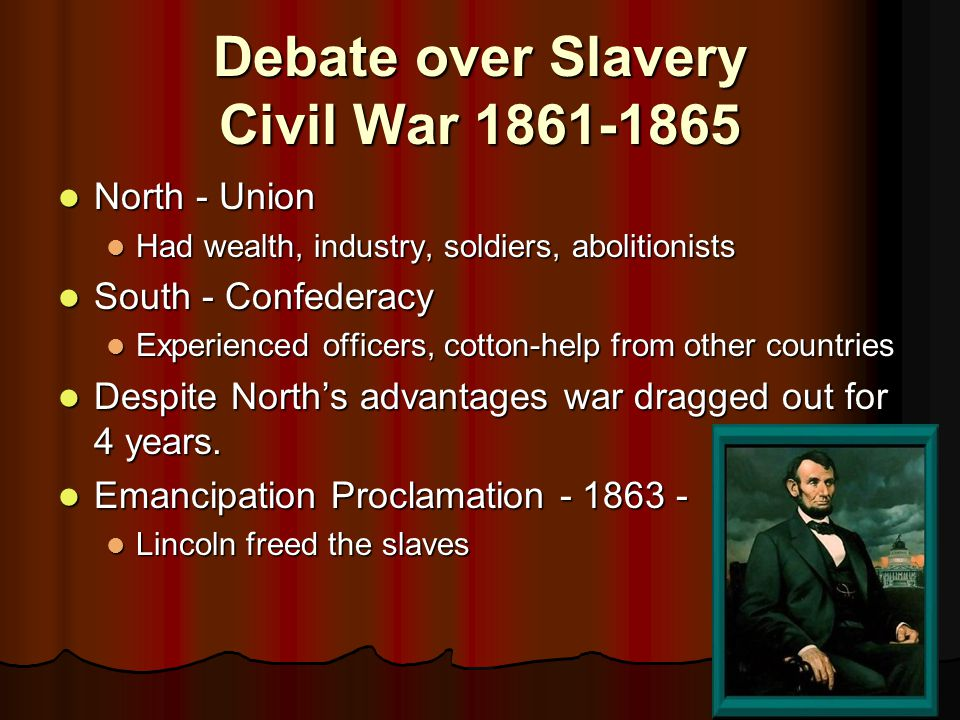 Debate over Slavery Civil War 1861-1865
