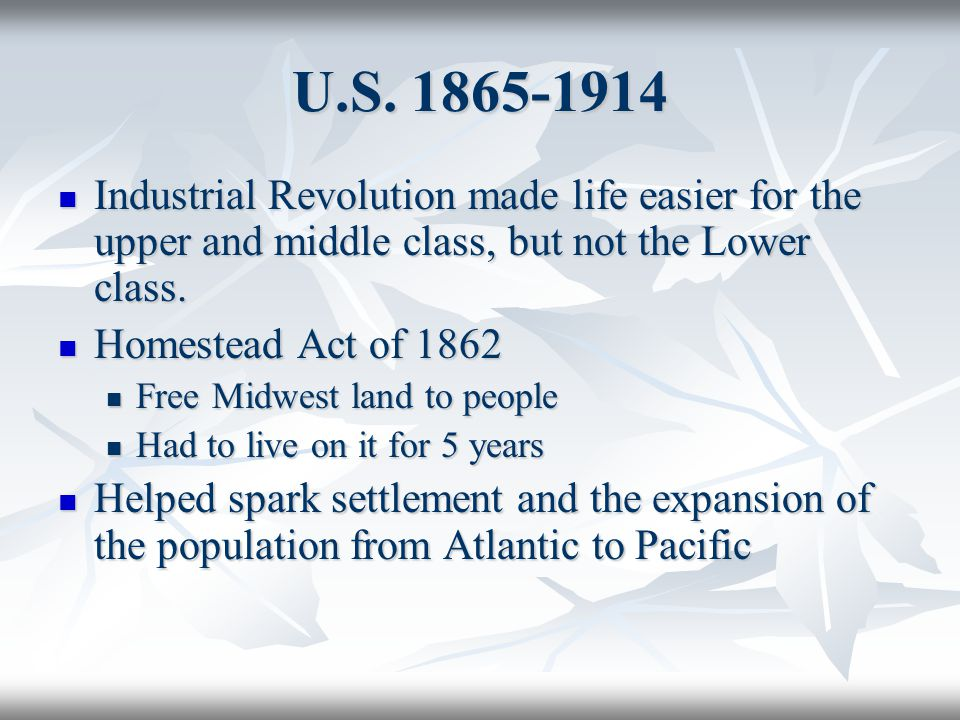 U.S. 1865-1914 Industrial Revolution made life easier for the upper and middle class, but not the Lower class.