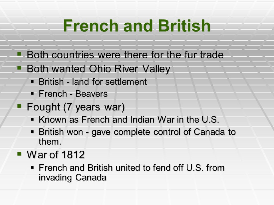 French and British Both countries were there for the fur trade