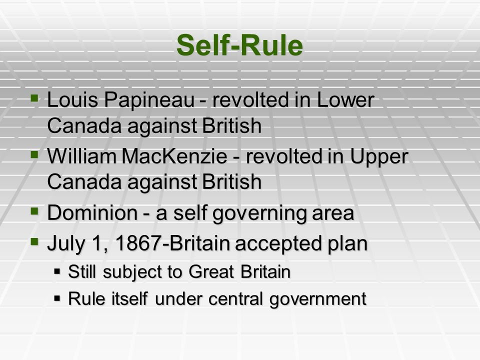 Self-Rule Louis Papineau - revolted in Lower Canada against British