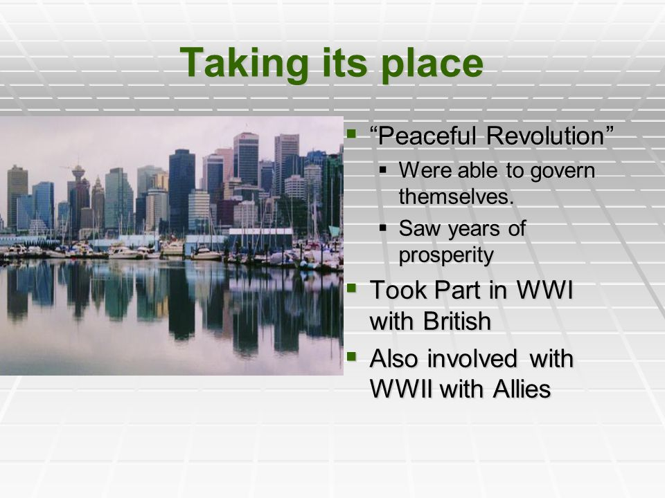 Taking its place Peaceful Revolution Took Part in WWI with British