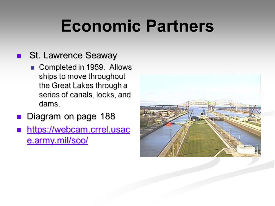 Economic Partners St. Lawrence Seaway Diagram on page 188