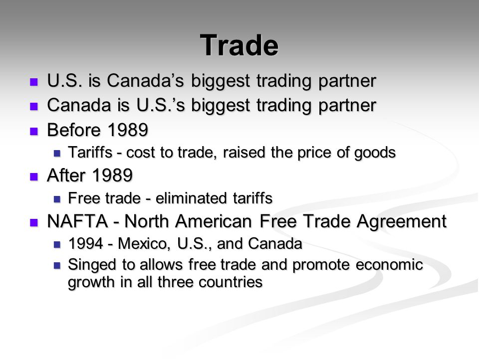 Trade U.S. is Canada's biggest trading partner