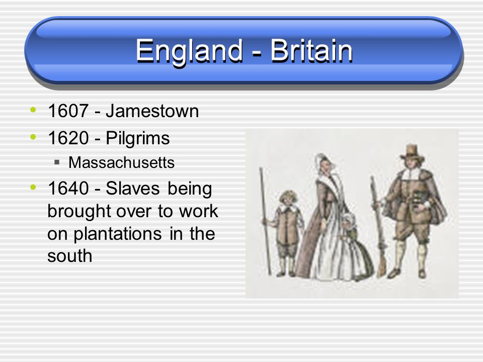 England - Britain 1607 - Jamestown 1620 - Pilgrims