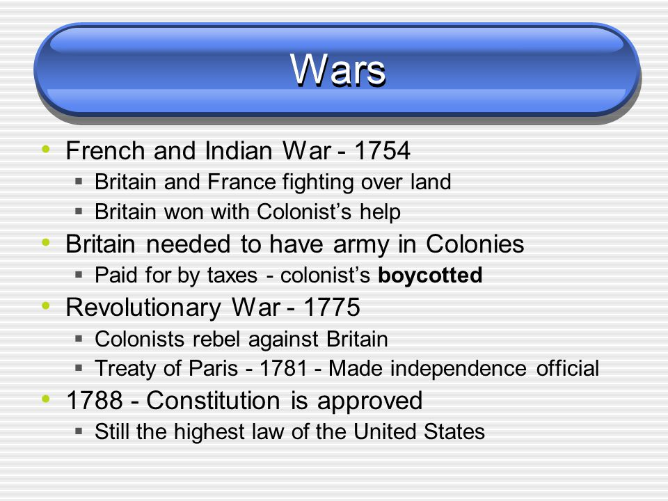 Wars French and Indian War - 1754