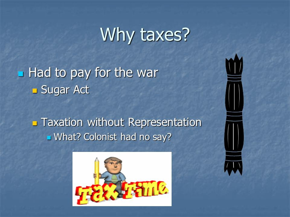 Why taxes Had to pay for the war Sugar Act