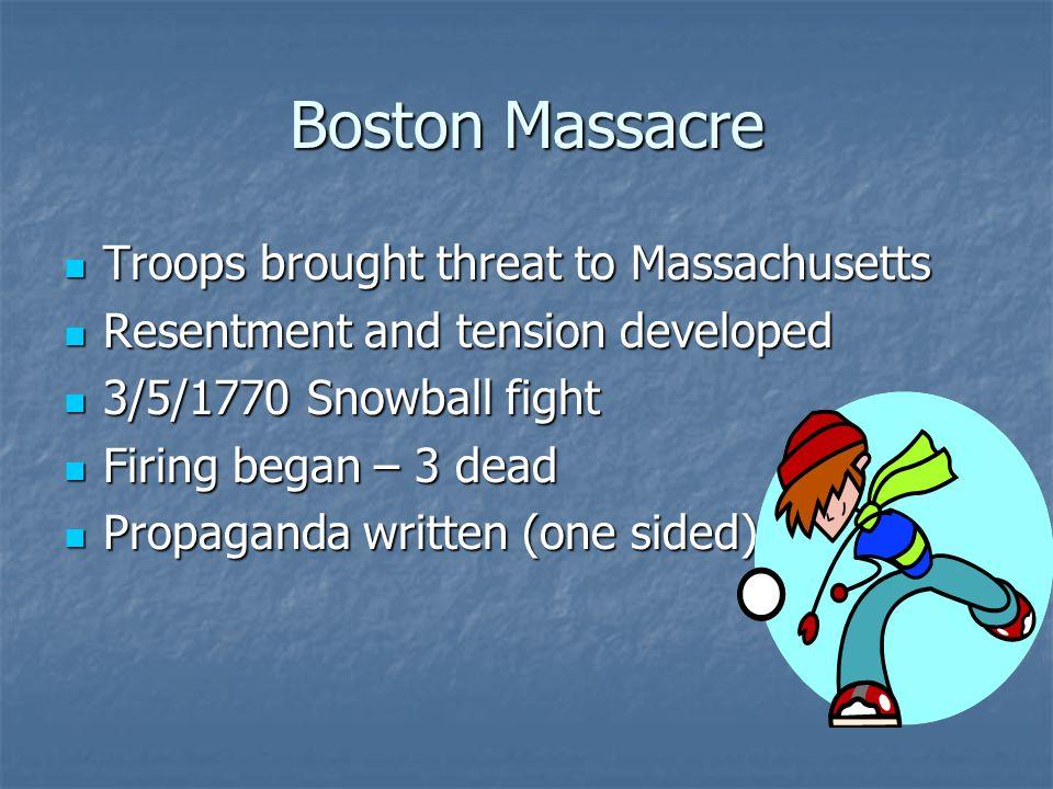 Boston Massacre Troops brought threat to Massachusetts