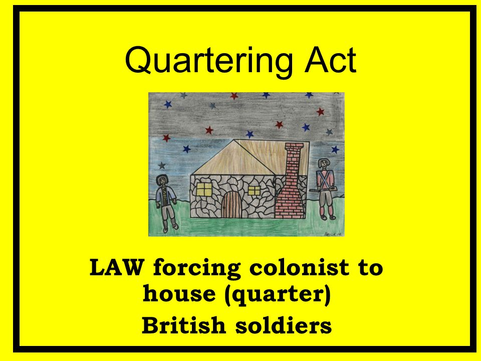 LAW forcing colonist to house (quarter) British soldiers