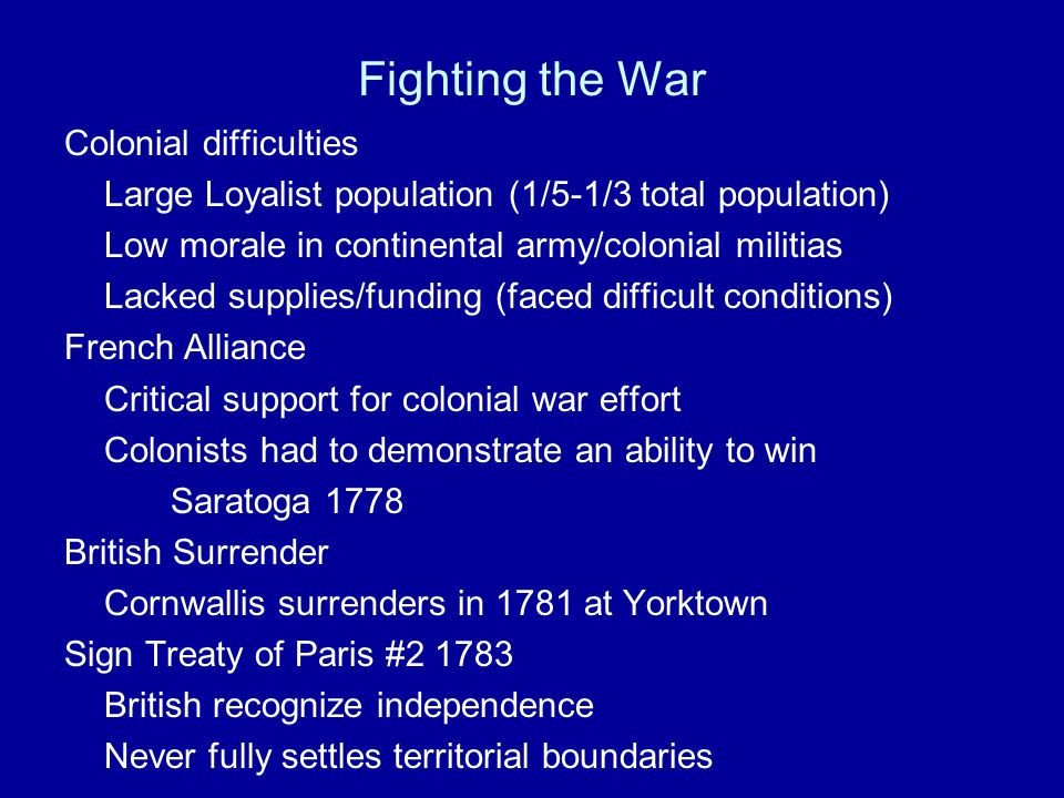 Fighting the War Colonial difficulties