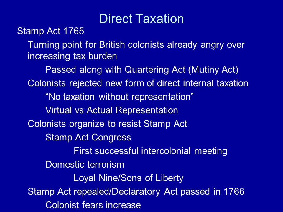 Direct Taxation Stamp Act 1765