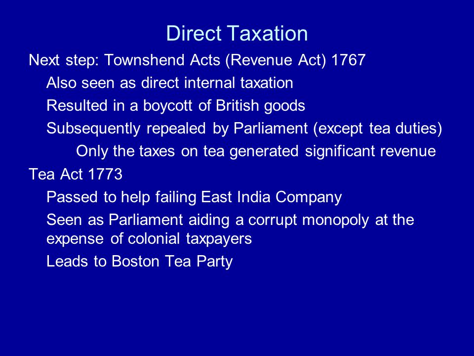 Direct Taxation Next step: Townshend Acts (Revenue Act) 1767