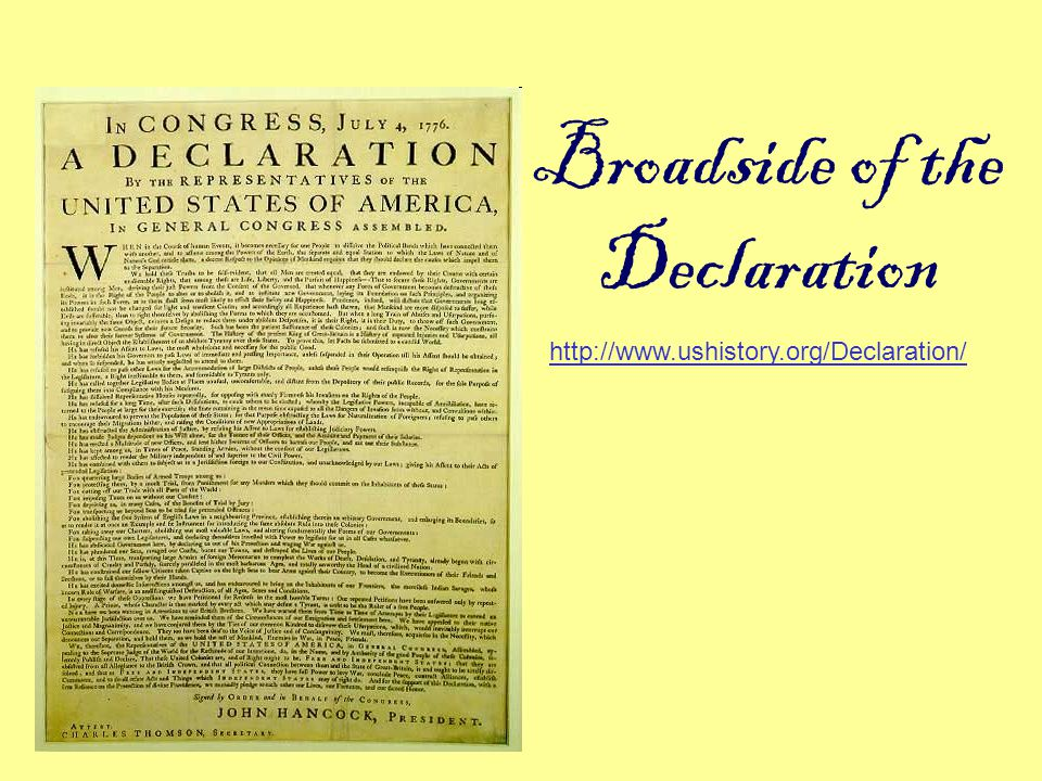 Broadside of the Declaration