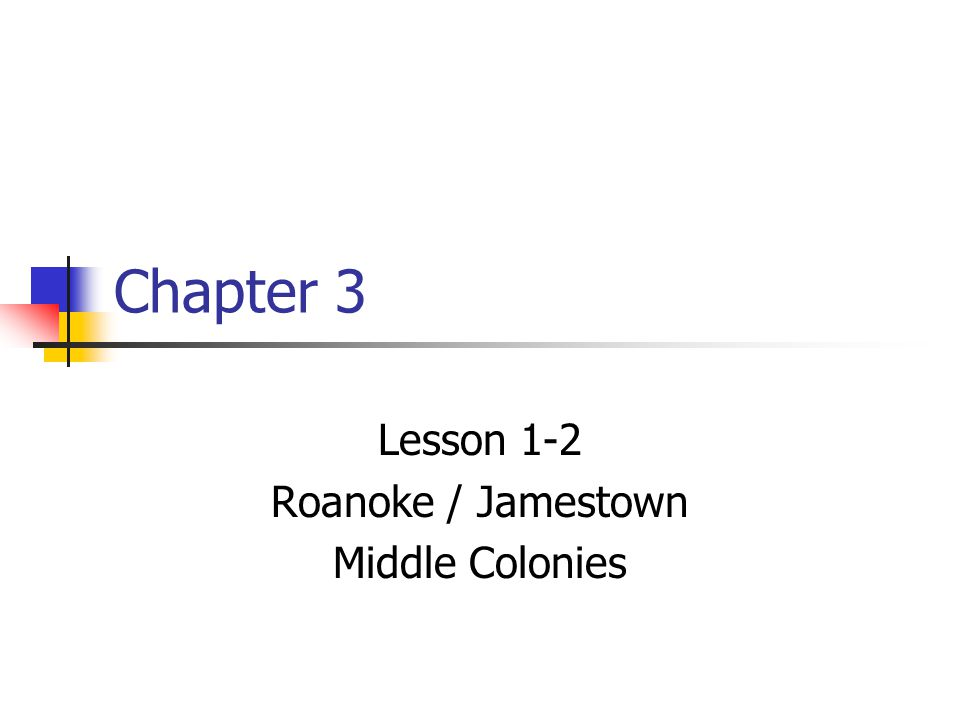 Lesson 1-2 Roanoke / Jamestown Middle Colonies